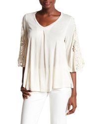 Bobeau | White 3/4 Crochet Sleeve Blouse | Lyst