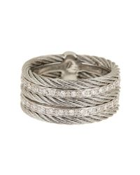 Alor - Gray 18k White Gold & Stainless Steel Cable Diamond Ring - 0.27 Ctw - Size 7 - Lyst