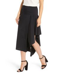Trouvé - Black Trouv? Asymmetrical Midi Skirt - Lyst