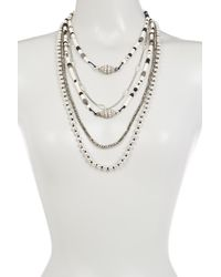 Lucky Brand | Metallic Beaded Statement Necklace | Lyst