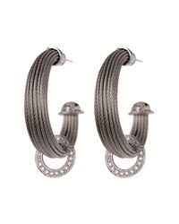 Alor | Gray 18k White Gold & Diamond Cable Hoop Earrings - 0.36 Ctw | Lyst