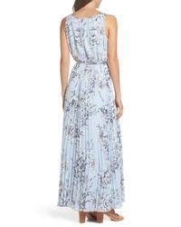 Eliza J Blue Pleated Maxi Dress