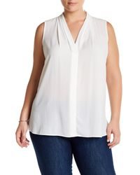 Vince Camuto - White Pleated V-neck Blouse (plus Size) - Lyst