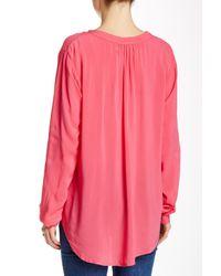 Velvet By Graham & Spencer - Pink Challis Long Sleeve Blouse - Lyst