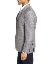 Ted Baker - Gray Trim Fit Windowpane Wool & Linen Sport Coat for Men - Lyst