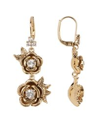 Marchesa - Metallic Floral Drop Earrings - Lyst