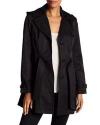 Via Spiga | Black Detachable Hood Trench Coat | Lyst