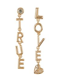 BCBGeneration | Metallic Crystal Detail True Love Drop Earrings | Lyst