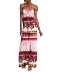 Sky - Red Quenbya Embellished Halter Maxi Dress - Lyst