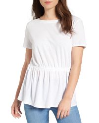 Hinge - White Side Tie V-back Tee - Lyst