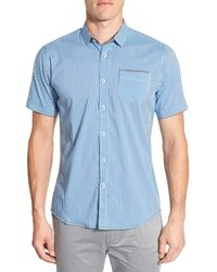 Descendant Of Thieves - Shades Of Blue Trim Fit Short Sleeve Check Woven Shirt for Men - Lyst