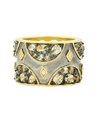 Freida Rothman - Metallic Rose D'or 14k Yellow Gold & Black Rhodium Plated Cz Wide Band Ring - Size 8 - Lyst