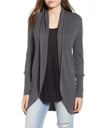 Leith - Gray Ribbed Shawl Cocoon Sweater - Lyst