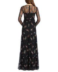 ML Monique Lhuillier - Black Embroidered Mesh Gown - Lyst