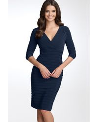 Adrianna Papell - Blue Pleated Jersey Sheath Dress - Lyst