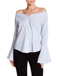 Haute Rogue - Blue Striped Off-the-shoulder Bell Sleeve Top - Lyst