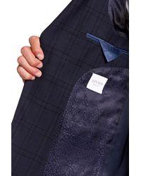 Simon Spurr - Blue Navy Windowpane Wool Two Button Notch Lapel Suit for Men - Lyst