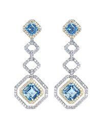 CZ by Kenneth Jay Lane - Blue Cz Pave Geometric Drop Stud Earrings - Lyst