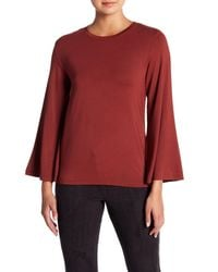 David Lerner - Red Crew Neck Bell Sleeve Top - Lyst
