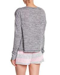 Kensie - Gray Stripe Knit Pullover - Lyst