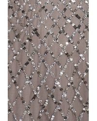 Adrianna Papell - Gray Beaded Mesh Gown - Lyst