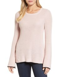Vince Camuto - Pink Tipped Bell Sleeve Sweater (regular & Petite) - Lyst