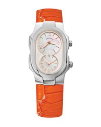 Philip Stein | Multicolor Women's Small Signature Dual Time Zone Embossed Leather Watch | Lyst