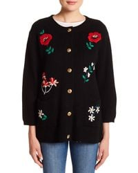 English Factory - Black Long Embroidered Cardigan - Lyst