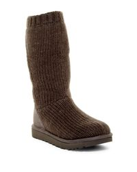 UGG | Gray Capra Ribbed Knit Genuine Shearling Lined Boot | Lyst
