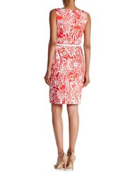 Nine West - Red Printed Pleat Neck Shift Dress - Lyst