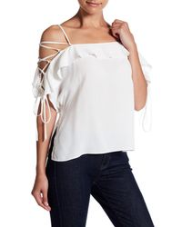 6eee0f35ff3fd Lyst - Honey Punch Ruffle Lace-up Cold Shoulder Blouse in White
