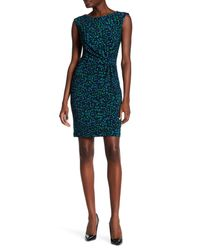 Anne Klein | Blue Cap Sleeve Side Twist Dress | Lyst
