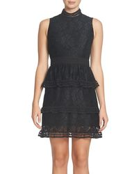 Cece by Cynthia Steffe - Black Brea Tiered Lace Sheath Dress (regular & Petite) - Lyst
