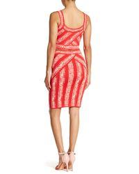 BCBGMAXAZRIA - Red Alexa Shibori Stretch Knit Pencil Skirt - Lyst
