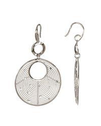 Argento Vivo - Metallic Sterling Silver Textured Disc Drop Earrings - Lyst