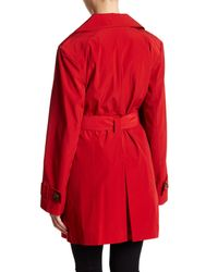 London Fog - Red Missy Hooded Trench Coat - Lyst