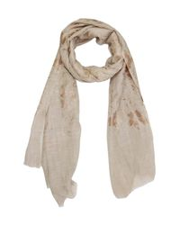 Saachi - Natural Metallic Foil Flower Beige Wool Blend Scarf - Lyst