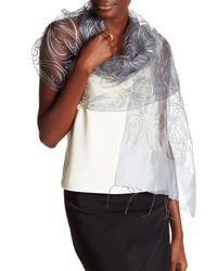 Saachi | Gray Silver Embroidered Paisley Silk Wrap | Lyst