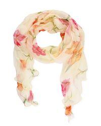 Saachi - Multicolor Cream Floral Dream Lettuce Hem Silk Scarf - Lyst
