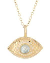 Anna Beck | Metallic 18k Gold Plated Sterling Silver Aquamarine Third Eye Necklace | Lyst