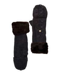 Ivanka Trump - Black Faux Fur Cable Knit Gloves - Lyst