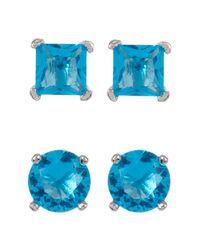 Liberty | Metallic Sterling Silver Blue Topaz Cz Stud Earrings - Set Of 2 | Lyst
