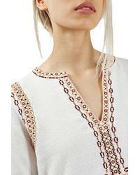TOPSHOP - White Embroidered Peplum Peasant Blouse - Lyst