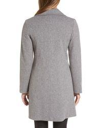 Fleurette - Gray Notch Collar Wool Walking Coat - Lyst