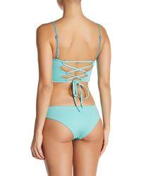 Maaji - Blue Paleturquoise Waterfalls Cheeky Cut Reversible Bikini Bottom - Lyst