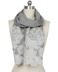 Saachi - Gray Oyster Grey Royal Garden Lace Border Wool Wrap - Lyst