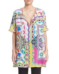 Etro | Multicolor 'floral Quad' Fringed Silk Tunic | Lyst