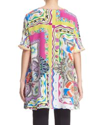 Etro - Multicolor 'floral Quad' Fringed Silk Tunic - Lyst