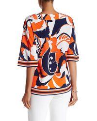 Trina Turk - Orange V-neck 3/4 Length Sleeve Silk Blouse - Lyst