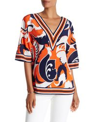 Trina Turk | Orange V-neck 3/4 Length Sleeve Silk Blouse | Lyst